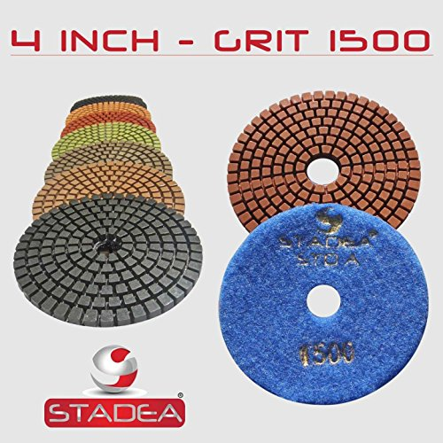 STADEA Grit 2000 1 Piece 4 Diamond Polishing Pads for Granite Marble Concrete Stone polishing Wet Grinder