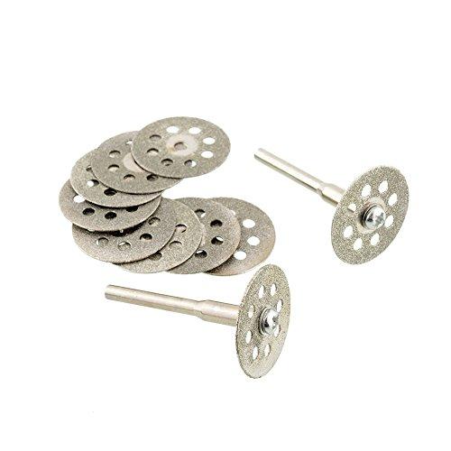 Soledi Hot New 10pcs Mini Sharp 22mm Vented Rotary Diamond Glass Gemstones Cutting Discs Disksmandrel Dremel Tools DIY