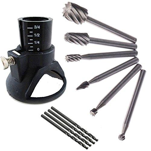 ZFE 6Pcs HSS Wood Milling Burrs  1 Drill Carving Rotary Locator SetDrill Bit Fits Dremel Proxxon Rotary Tools