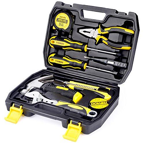 DOWELL 10 Piece Small Tool KitMini Portable Tool SetHome Repair Hand Tool Kit with Plastic Tool box Storage Case