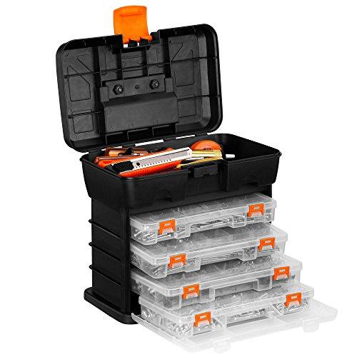 VonHaus Portable Small Parts Crafts or Tool Storage Box - Organizer Case with 4 Drawers Adjustable Dividers 109 x 101 x 69 inches - BlackOrange