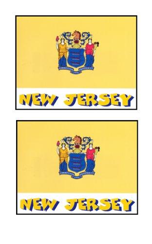 2 Souvenir New Jersey State Flag Stickers Decal Laptop Phone Locker Toolbox Wall Stocking Stuffer
