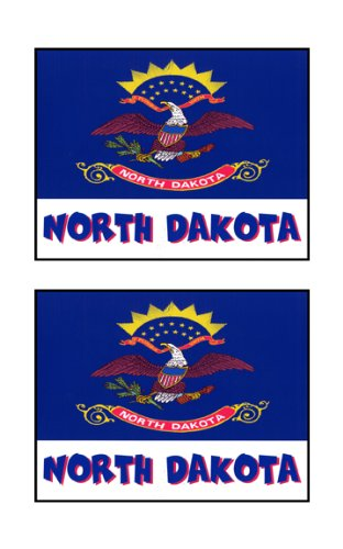 2 Souvenir North Dakota State Flag Stickers Decal Laptop Phone Locker Toolbox Wall Stocking Stuffer