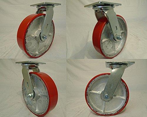 8 X 2 Swivel Casters Heavy Duty Polyurethane Wheel on Steel Hub 1400lb Each 4 Tool Box