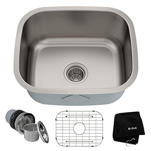 Kraus KBU11 20 inch Undermount Single Bowl 16 gauge Stainless Steel Kitchen Sink