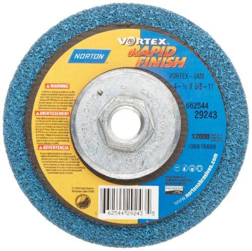 Norton Bear-Tex Depressed Center Vortex Rapid Finish Unified Nonwoven Abrasive Wheel Type 27 4-12 Diameter 58-11 Arbor Grit 5AM Pack of 1