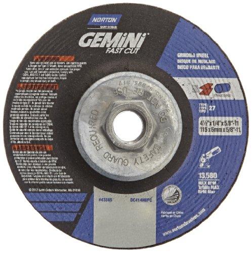 Norton Gemini Fast Cut Depressed Center Abrasive Wheel Type 27 Aluminium Oxide 58-11 Hub 4-12 Diameter x 14 Thickness   Pack of 10