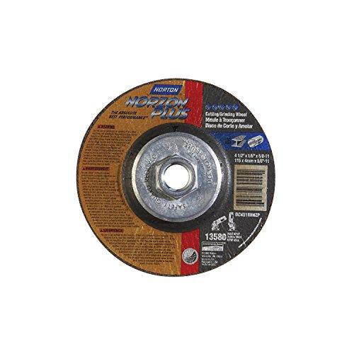 Norton Norzon Plus Depressed Center Abrasive Wheel Type 27 Zirconia Alumina 58-11 Hub 4-12 Diameter x 18 Thickness  Pack of 1