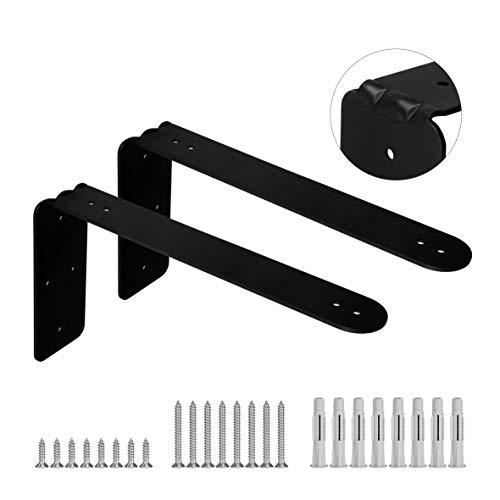 11 X 6 Pack of 2 Matte Black Steel Heavy Duty Metal Shelf Brackets for Large Wall Floating Shelf Ideal for 12 Inch Standard Lumber Board DIY Wall Shelf - by Dvine Dev