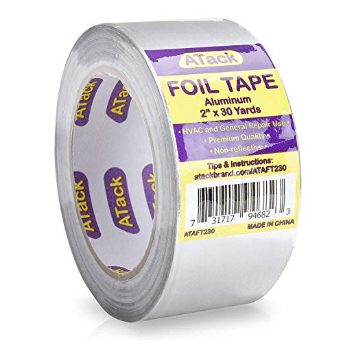 ATack Aluminum Foil Reflective Duct Tape 2 x 30 Yards High Temp and Heavy Duty Metal Aluminum HVAC Tape for Duct Work Furnace AC Units and metalworks