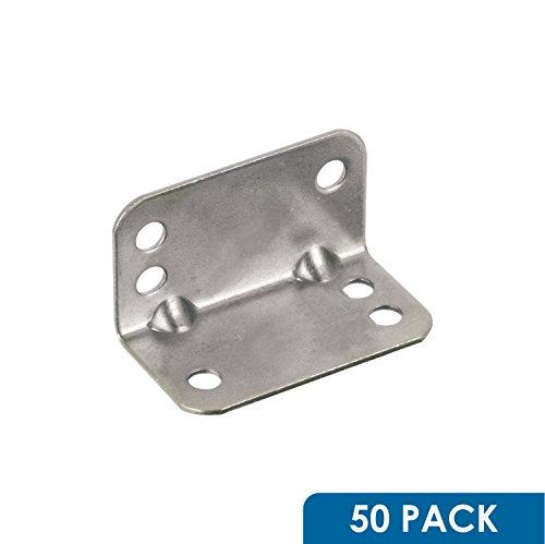 Rok Hardware Heavy Duty Metal Bracket Right Angle Brace 20 Gauge Zinc Finish 50 Pack
