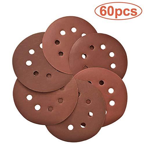 60 Pcs Sanding Discs 5 inch 8 Holes Hook and Loop Sandpaper Disc -6008001000120015002000 Grit Assorted Orbital Sander Round Sandpaper