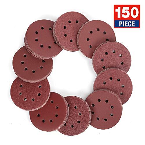 WORKPRO 150-piece Sandpaper Set - 5-Inch 8-Hole Sanding Discs 10 Grades Includ 60 80 100 120 150180 240 320 400 600 Grits for Random Orbital Sander Not for Oscillating Tools or Mouse Sander