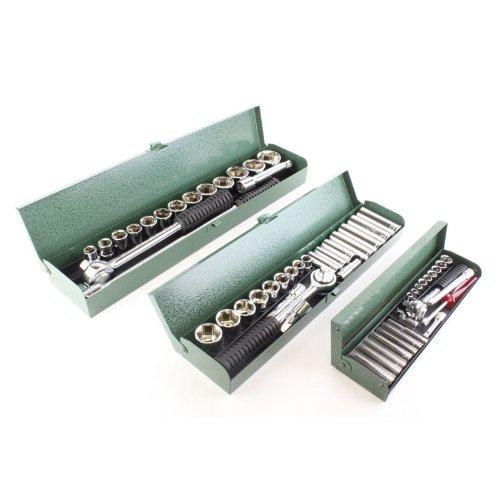 60PC SAE Mechanics Professional Tool Set Forged Ratchet Socket Standard Wrench