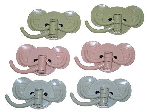 Ceeyali Elephant Self Adhesive Wall Hook Swivel Hooks for Keys Hats Towel Home Bathroom Kitchen etc Pack of 6