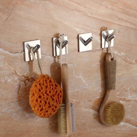 Home-organizer Tech Bathroom 3M Self Adhesive Hook Garage Storage Organizer Stick On Sticky Bathroom Kitchen Hanger Wall Mount Brushed Stainless Steel 2 - Pieces