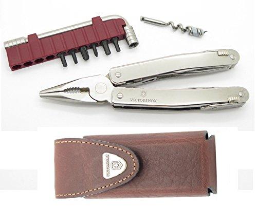 Victorinox SwissTool Spirit Plus Swiss Army Knife Plyer Multi-Tool Wrench Bit Set w Brown Leather Sheath