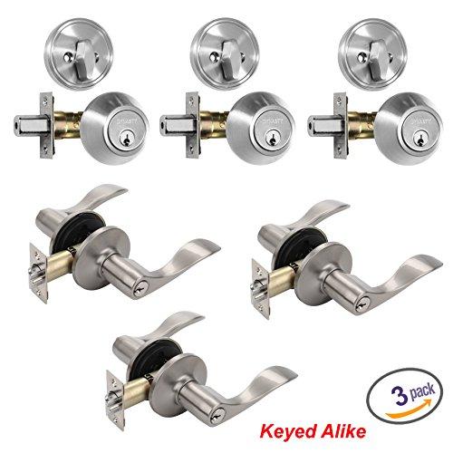 Dynasty Hardware V-CP-HER-US15 Heritage Front Door Entry Lever Lockset and Single Cylinder Deadbolt Combination Set Satin Nickel - 3 PACK - Keyed Alike