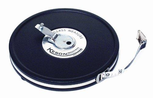 Keson MC10M50 50 Feet Closed Metal Housing Fiberglass Measuring Tape in Metric and Tenths