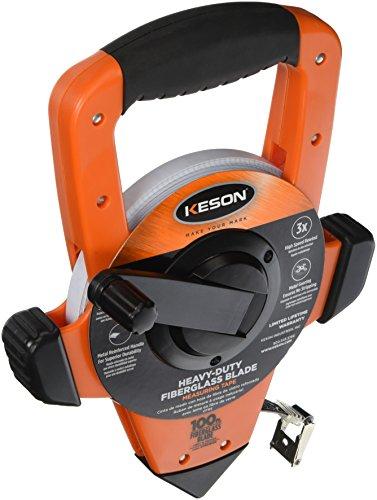 Keson OTRS18100 Fiberglass Measuring Tape with Hook Speed Rewind Graduations ft in 18 100-Foot