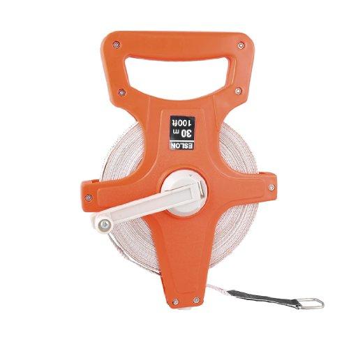 uxcell Orange Red Plastic Handle 30M 100Ft Open Reel Fiberglass Measuring Tape Ruler