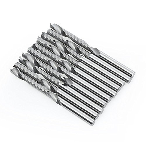 EMY 10PCS 18 Inch 3175mm Carbide Flat Nose 22mm End Mill CNC Router Bits Single Flute Spiral Set Tool for Nylon Resin ABS Acrylic PVC MDF Hardwood
