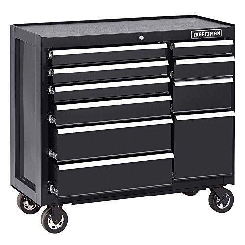 CRAFTSMAN Tool Box Cabinet 41-Inch 10 Drawer Black Heavy-duty Metal Rolling Cart Mechanist Portable by Adams Pack