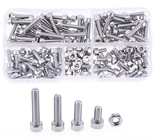 Hilitchi 180pcs M4 Stainless Steel Hex Socket Head Cap Screws Nuts Assortment Kit with Box M4 Steel Sockets