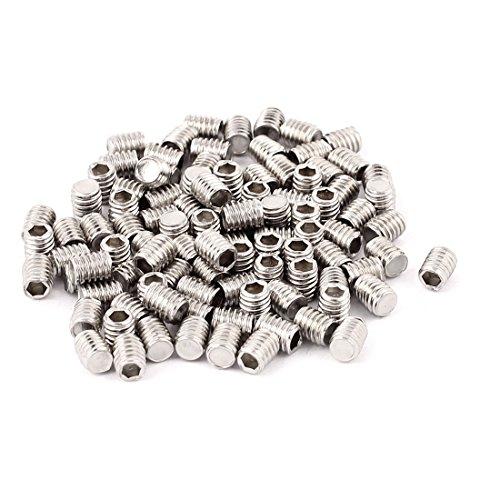 uxcell 100pcs M4x5mm Flat Point Grub Screws Hex Socket Set Screw