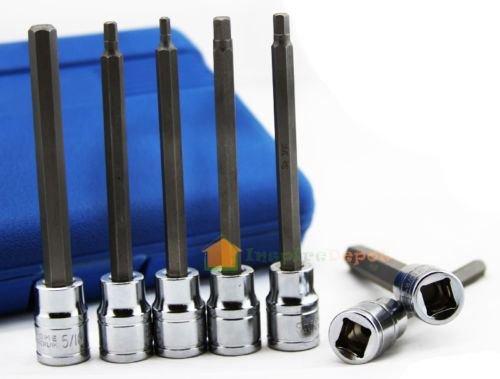 7 Pc Extra Long Hex Bit Socket Allen Wrench Set SAE Tool WCase Chrome Vanadium