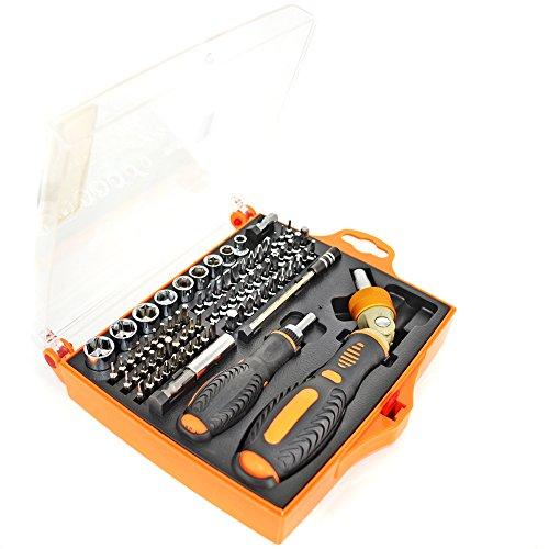 Ratchet Driver Screwdriver Set Ratcheting Socket Kit 74 Bits Magnetic