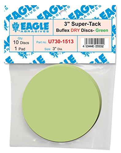 Eagle U730-1513 - 3 inch SUPER-TACK Mini Buflex DRY Discs - Green - Job-Pak - 10 Discs  1 padPack