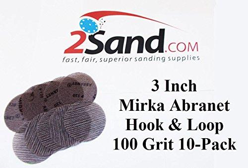 Mirka Abrasives 9A203100 Abranet 3 Inch Disc 100 Grit Sand Paper 50Pk Made by Mirka Abrasives
