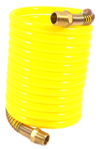 Forney 75417 Recoil Air Hose Yellow Nylon with 14-Inch Male NPT Fittings 1 Swivel End 14-Inch-by-12-Feet 200 PSI