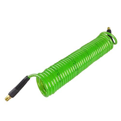 PowRyte 500013 Elite Recoil Polyurethane PU Air Hose - 14-Inch by 25-Feet 14-Inch MNPT Swivel Brass Ends