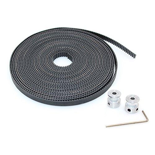 BIQU GT2 10 Meters Timing Belt  2Pcs 5mm 20Teeth Timing Pulley Wheel for 3D Printer