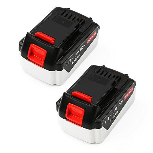 2-PackForceAtt LB2X4020 20V 40Ah 80Wh Lithium-Ion Replacement Cordless Power Tool Battery for BLACK&DECKER LB20 LBX20 LBXR20Black-White