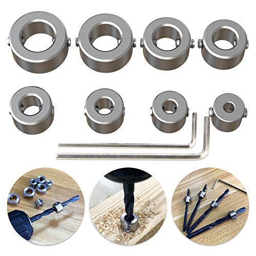 304 Stainless Steel Stop Bit Collar Set Drill Tool for 3mm 4mm 5mm 6mm 7mm 8mm 9mm 10mm Diameter Drill Bits 8Pcs