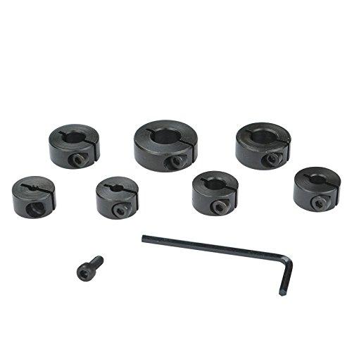 POWERTEC 71210 Drill Bit Stop Collar wSplit Ring Design - 3mm 4mm 5mm 6mm 8mm 10mm 12mm - 7 Piece Set