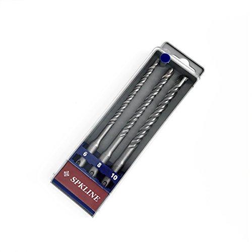 SPKLINE 3 Pcs SDS-Plus Hammer Drill Bit Set 6mm14 8mm516 10mm38 Diameter 160mm6-516 Length Tungsten Carbide Tip SDS Impact Drill Bits for Concrete Mortar Brick Masonry