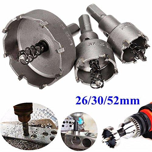 WCHAOEN 3pcs 26mm 30mm 52mm Carbide Tip Drill Bit Hole Saw Cutter Tool Accessories Tool