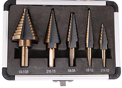 5PCS HSS Cobalt Multiple Hole 50 Sizes Step Drill Bit Set Tools with Aluminum CaseNew by WW shop