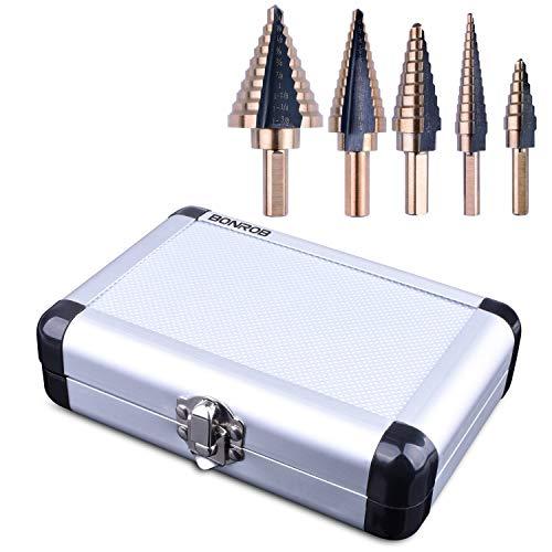 BONROB 5PCS HSS Cobalt Titanium Step Drill Bit Set Tools High Speed Drill Bit Set Total 50 Sizes with Aluminum Case