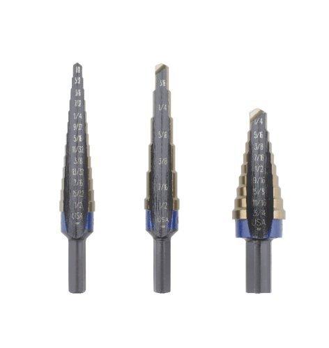 Irwin 10502CB Unibit 3 Piece Cobalt Step Drill Bit Set 1 2 3 Bits