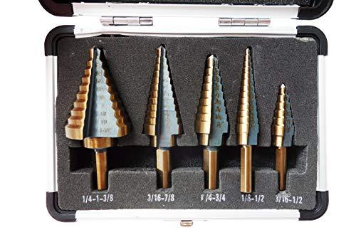 Sirius&Co Step Drill 5pcs Hss Cobalt Multiple Hole 50 Sizes Step Drill Bit Set with Aluminum Case