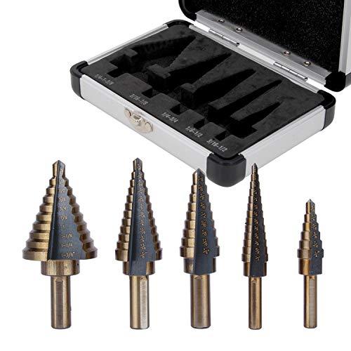 Step Drill Bit Set 5 Pcs 50 Sizes Cobalt Step Drill Bits for Metal Wood Plastic Sheet Stainless Steel Metric Step Drill Bit Titanium Stepped Drill Bits