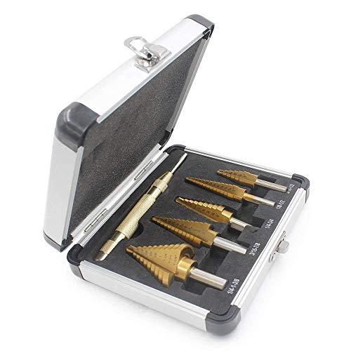 Step Drill Bit Set JESTUOUS 5pcs Unibit HSS Titanium Coated Cobalt Tools 2 Flute 3 Side Shank Design with Automatic Center Punch Multiple Hole 50 Sizes