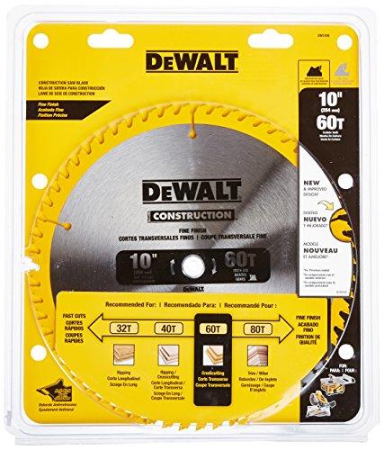 DEWALT DW3106 Series 20 10-Inch 60 Tooth ATB Thin Kerf Crosscutting Saw Blade with 58-Inch Arbor