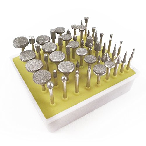 50pc Universal 18 Inch Shank Diamond Burr Bit Set Dremel Rotary Tool 240 Grit