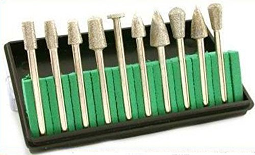 Generic NV_1008002674_YC-US2 516ted Glass Stone Glass 10pc Diamond e Dri Drill Bit fit Dremel t fit Coated Burrs el He Head size up to 516 10pc Di